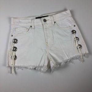 Express bolo tie fringe raw hem white shorts 4
